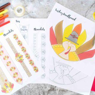 Free Printable Turkey Headband, Ties And Bracelets Craft