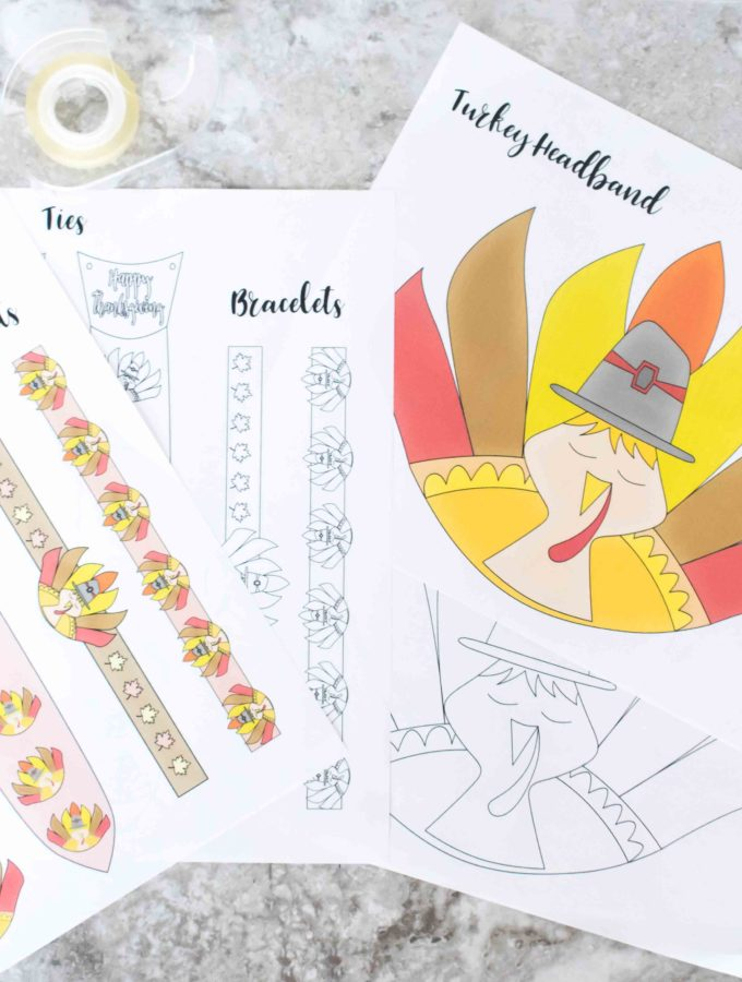 Your kids will love this Thanksgiving Craft! They will look so CUTE and ADORABLE with these Turkey Headband, Ties and Bracelets