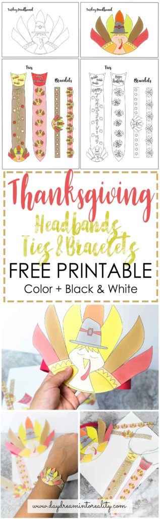 Your kids will love this FREE PRINTABLE Thanksgiving Craft! They will look so CUTE and ADORABLE with these Turkey Headband, Ties and Bracelets
