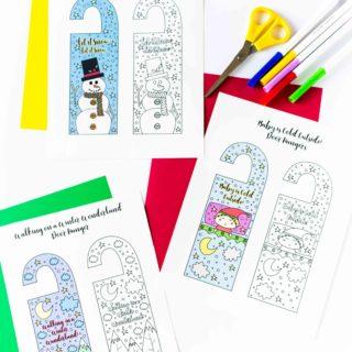 Coloring Winter Door Hangers Free Printable