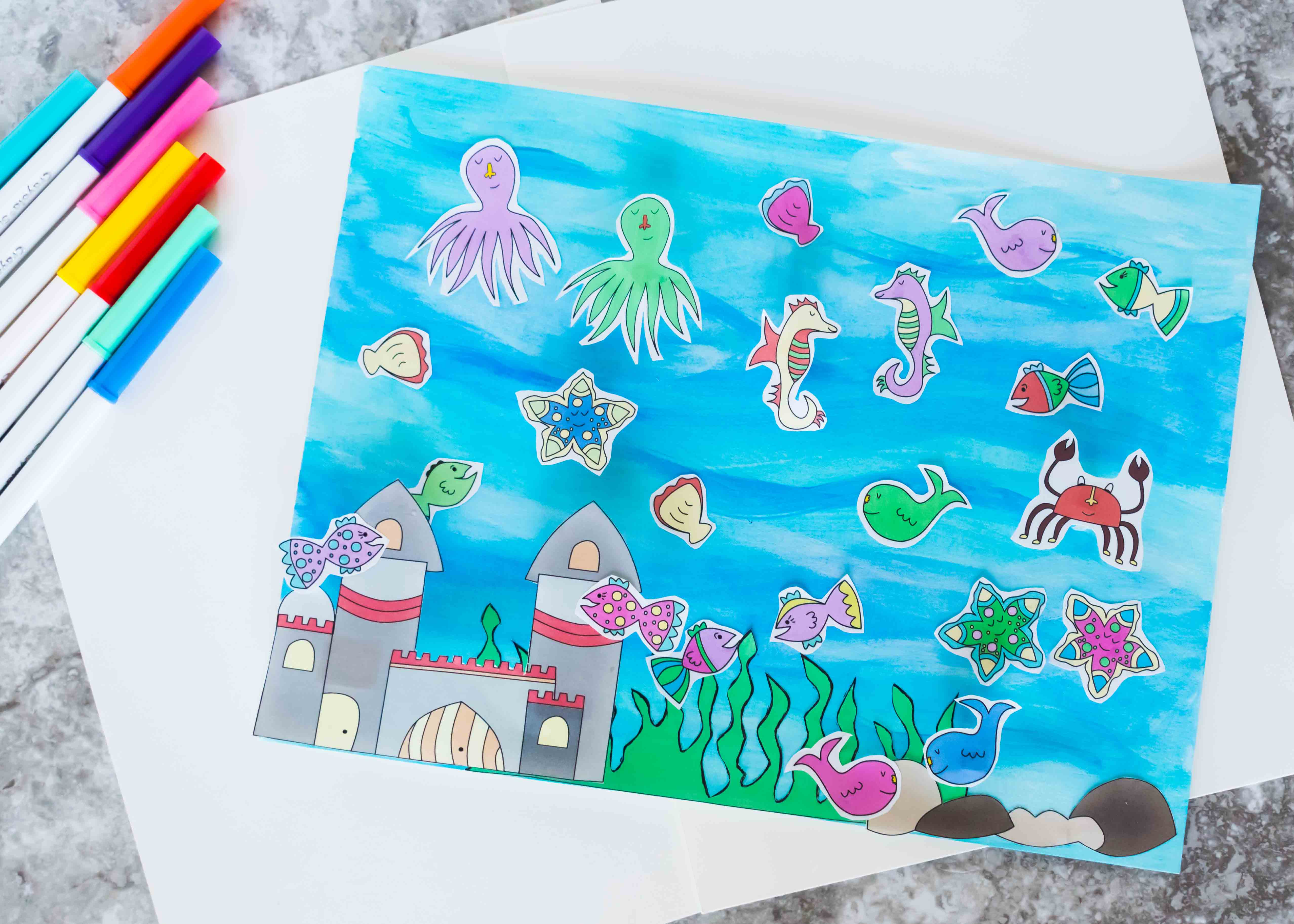 Easy and cute fish tank craft for kids free printable for Toddler fish tank