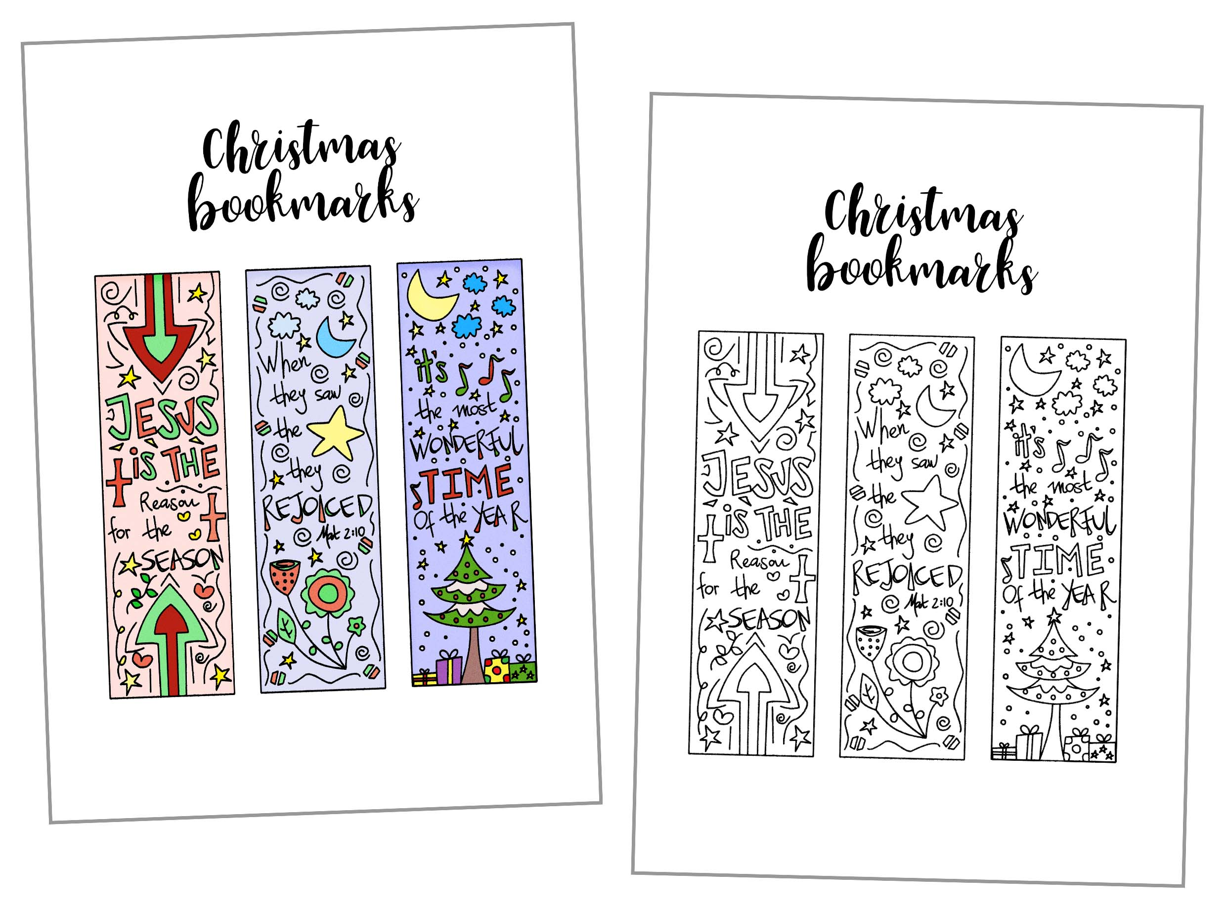 these hand drawn coloring christmas bookmarks are so beautifully designed use them to mark your - Printable Coloring Christmas Pictures