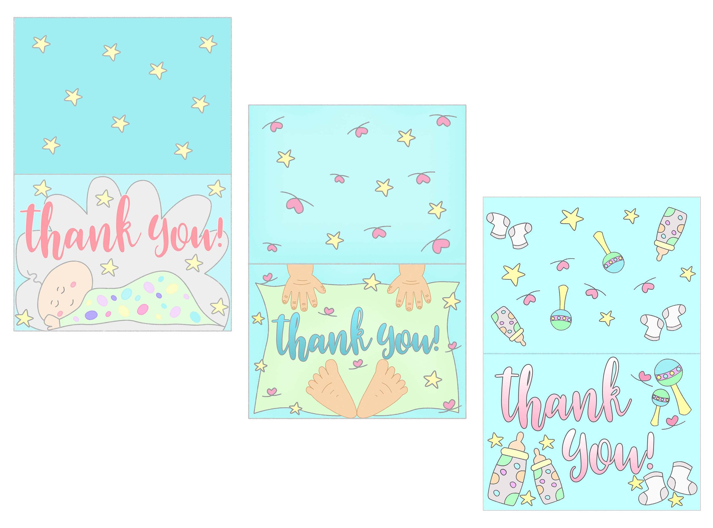 Free Printable Baby Gift Thank You Cards : Baby shower thank you cards free printable daydream into