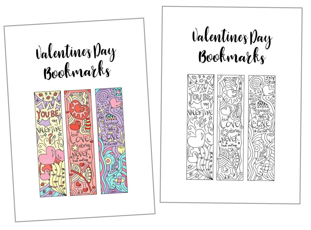 Coloring Valentine's Day Bookmarks Free Printable ...