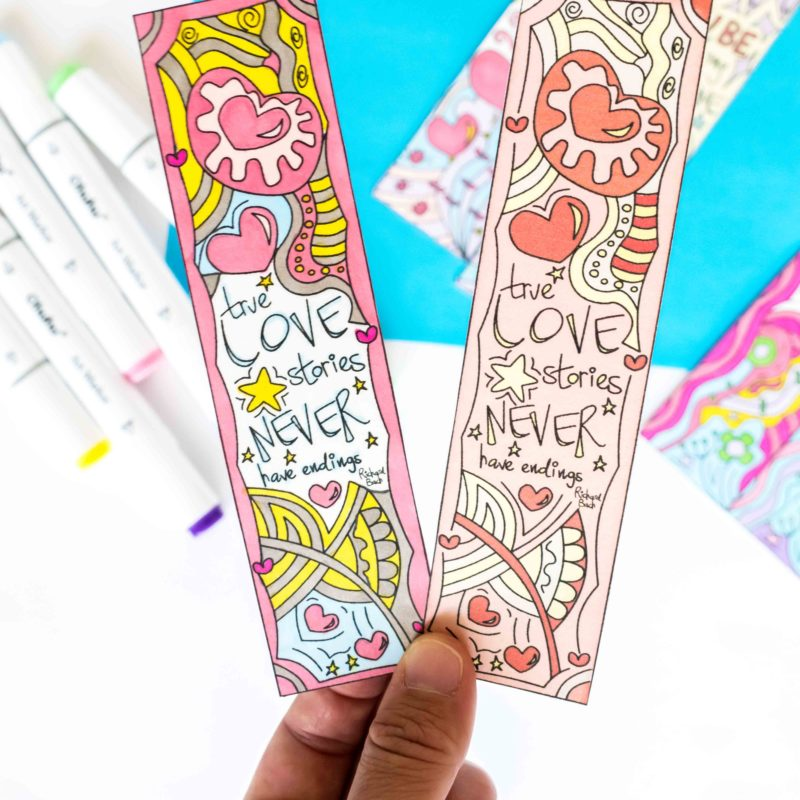 Coloring Valentine's Day Bookmarks Free Printable