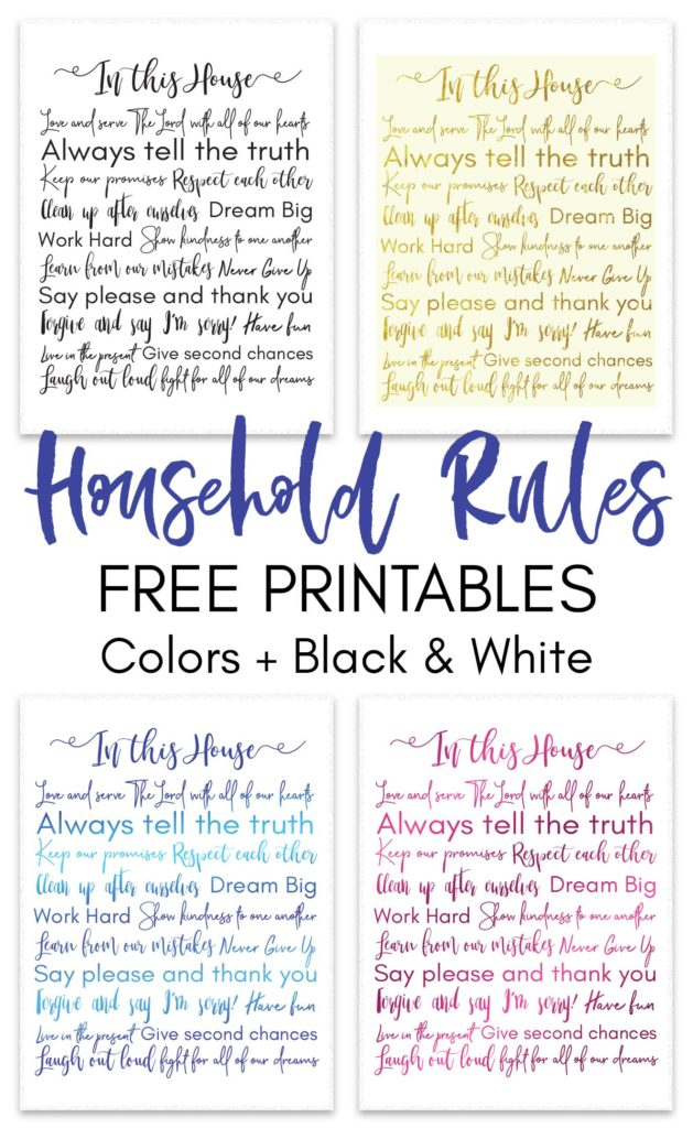 Household Rules Free Printable Daydream Into Reality