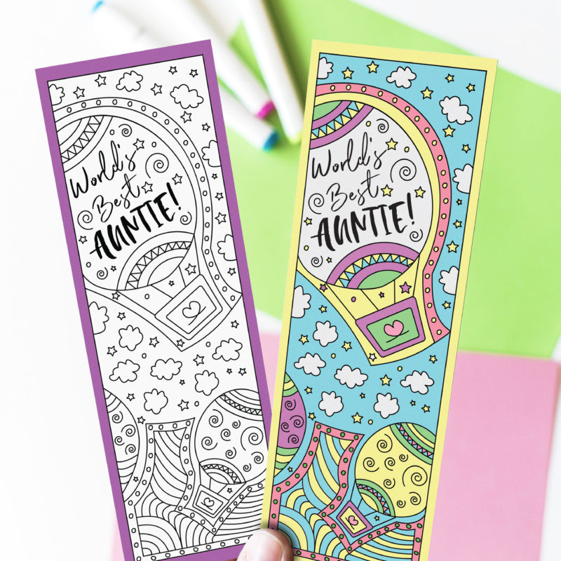 Coloring Auntie Bookmarks Free Printable