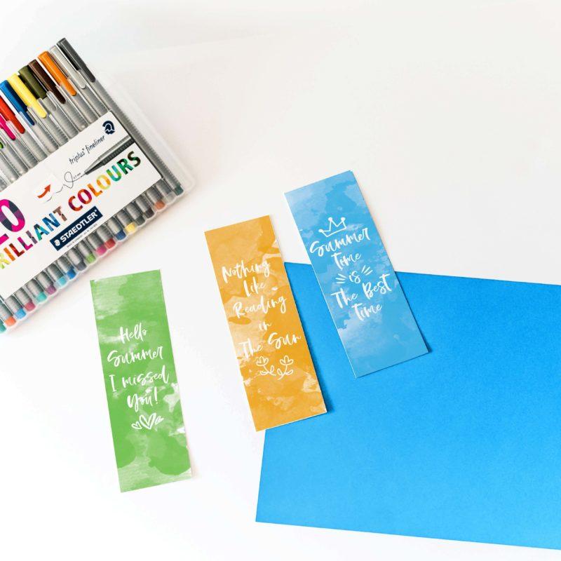Watercolor Summer Bookmarks Free Printable