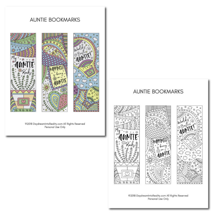 Show your auntie how much you love her with these beautiful and creative bookmarks. You can color them too!