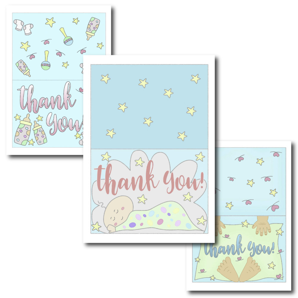 Recently Hosted a Baby Shower? Give thanks to the people that showered your baby with beautiful presents with these beautiful Thank You cards.