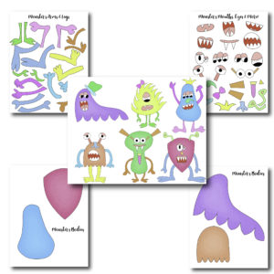This craft is so much fun! Cut around it and have your kids put together the monsters.