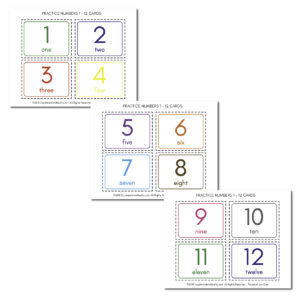 Print, Cut and put together these flash cards for practicing numbers 1 to 12. Read the tutorial to learn how to laminate them!