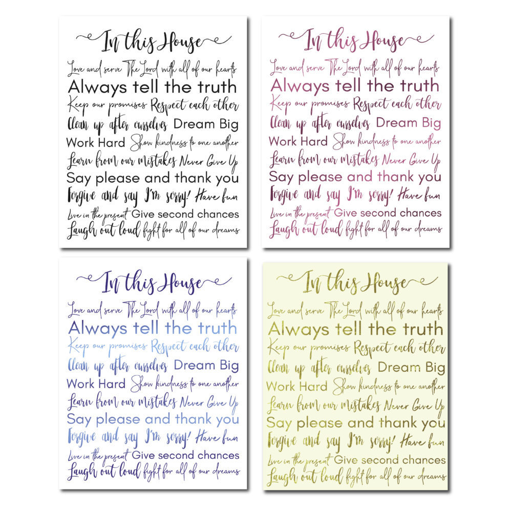 Want to remember your family about rules? This is a beautiful and very meaningful way to do it! Choose from 4 options and display it anywhere in your home :)