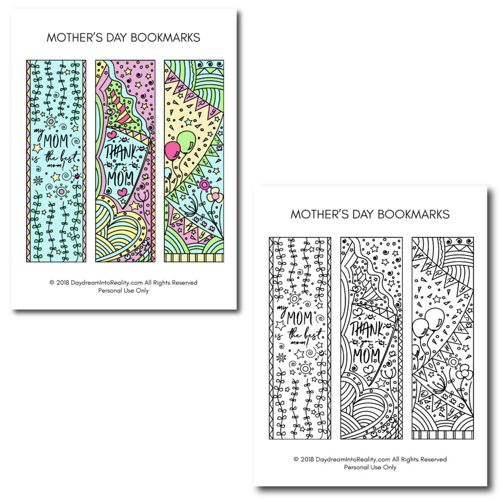 If you have, are, or know a mom these bookmarks are so cute and perfect! Print them in color or add an extra touch by coloring them. They are lovely! And EVERY MOM will love them.