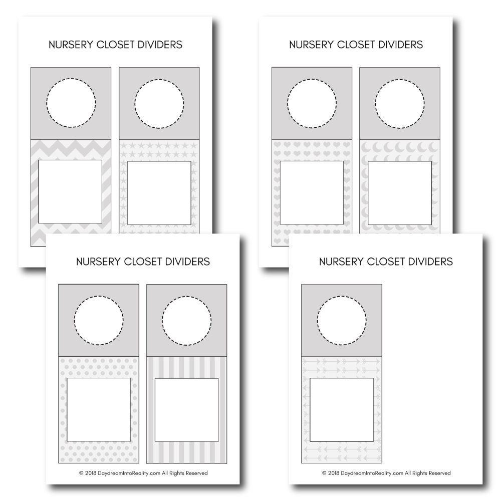 Use these beautiful printables to organize all of his/her clothes! NOTE: You can use these ones as an adult too. Just type down how you want to divide you closet.