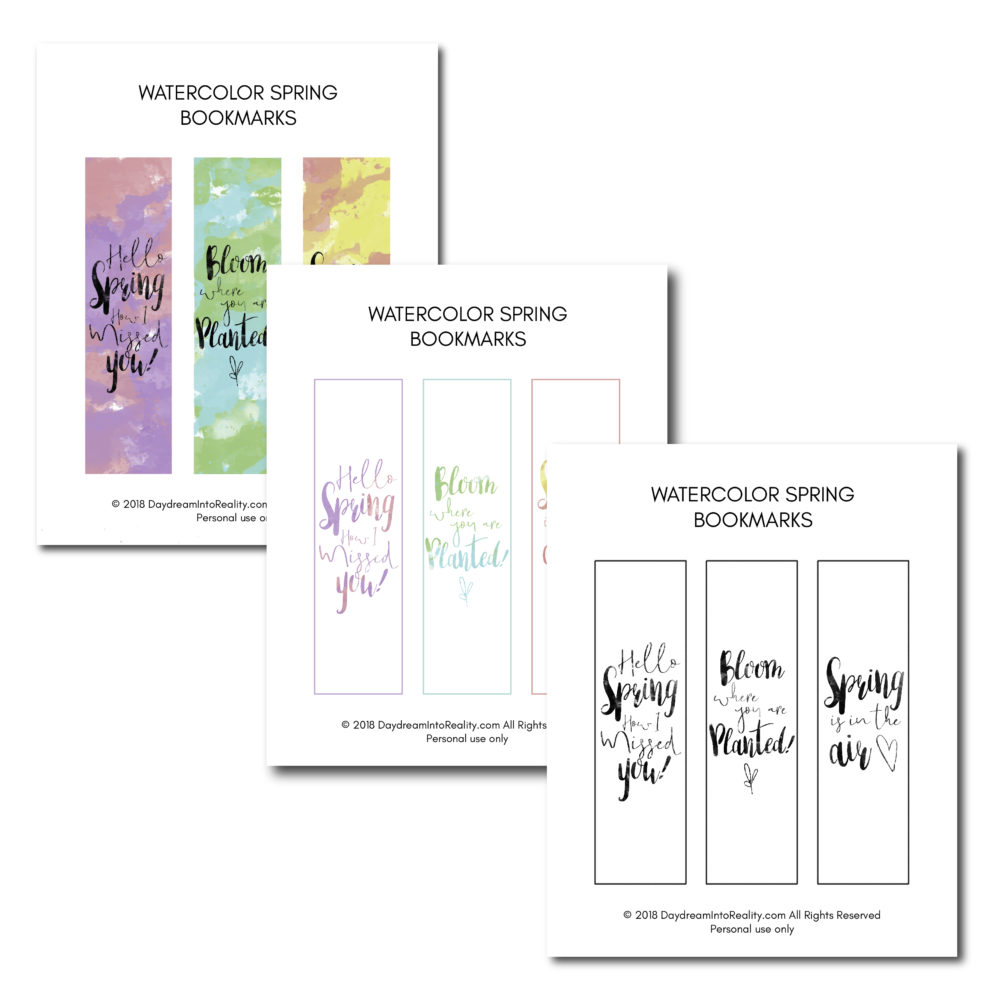 Reading during the spring season? These watercolor bookmarks are just the perfect touch so you don