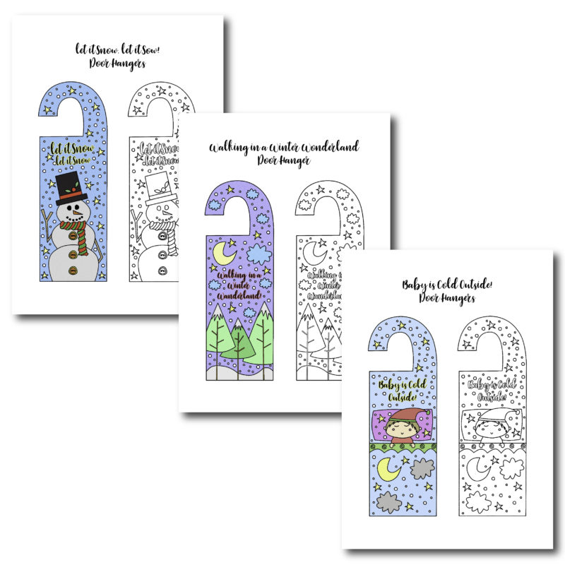 Is your little one into personalizing his or her room? These winter door hangers are the perfect fit during the winter! Print them in color or Black & White for your kids to color.
