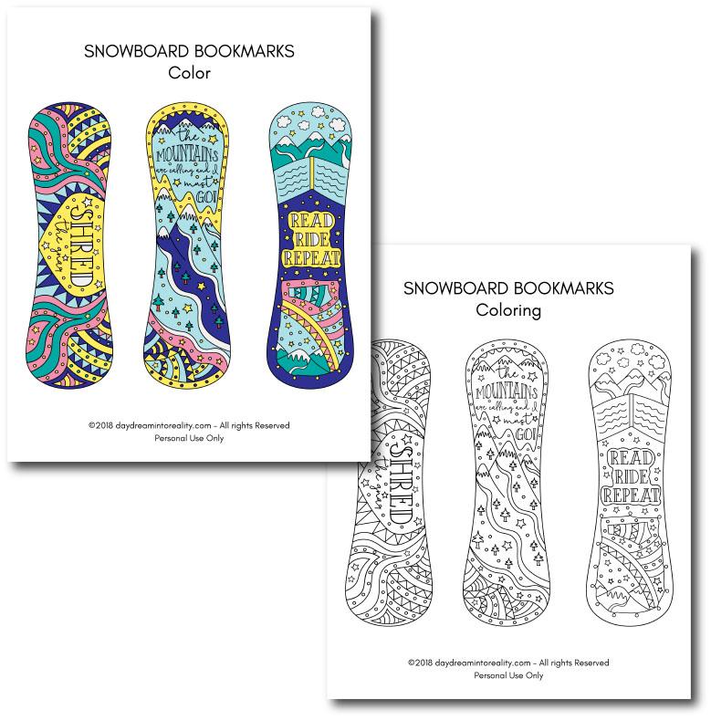 Snowboard Bookmarks