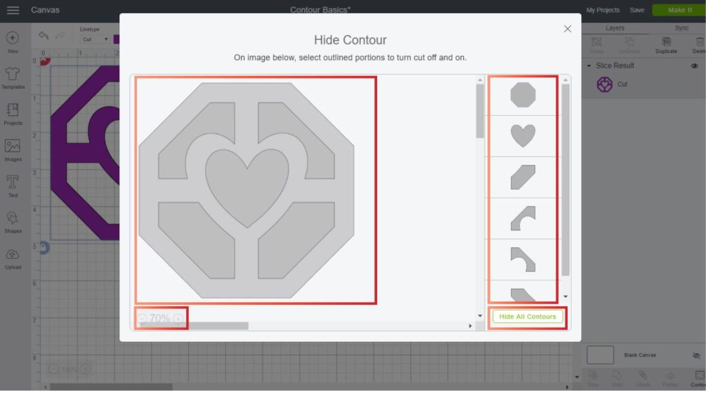 Screenshot of the contour window in Cricut Design Space