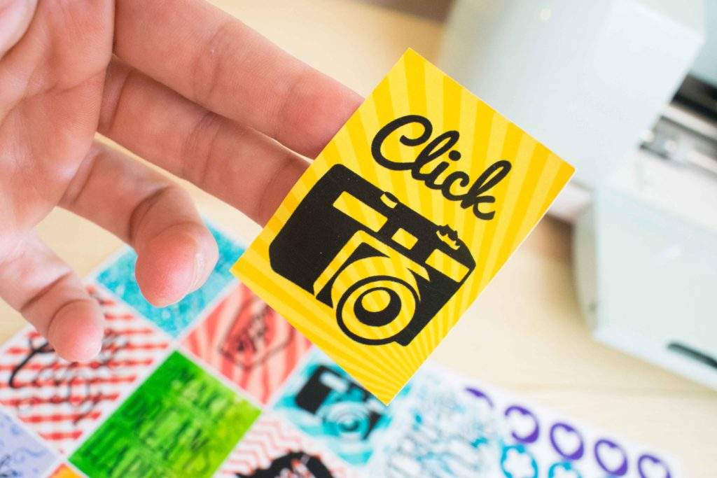 Yellow Square sticker made with Cricut