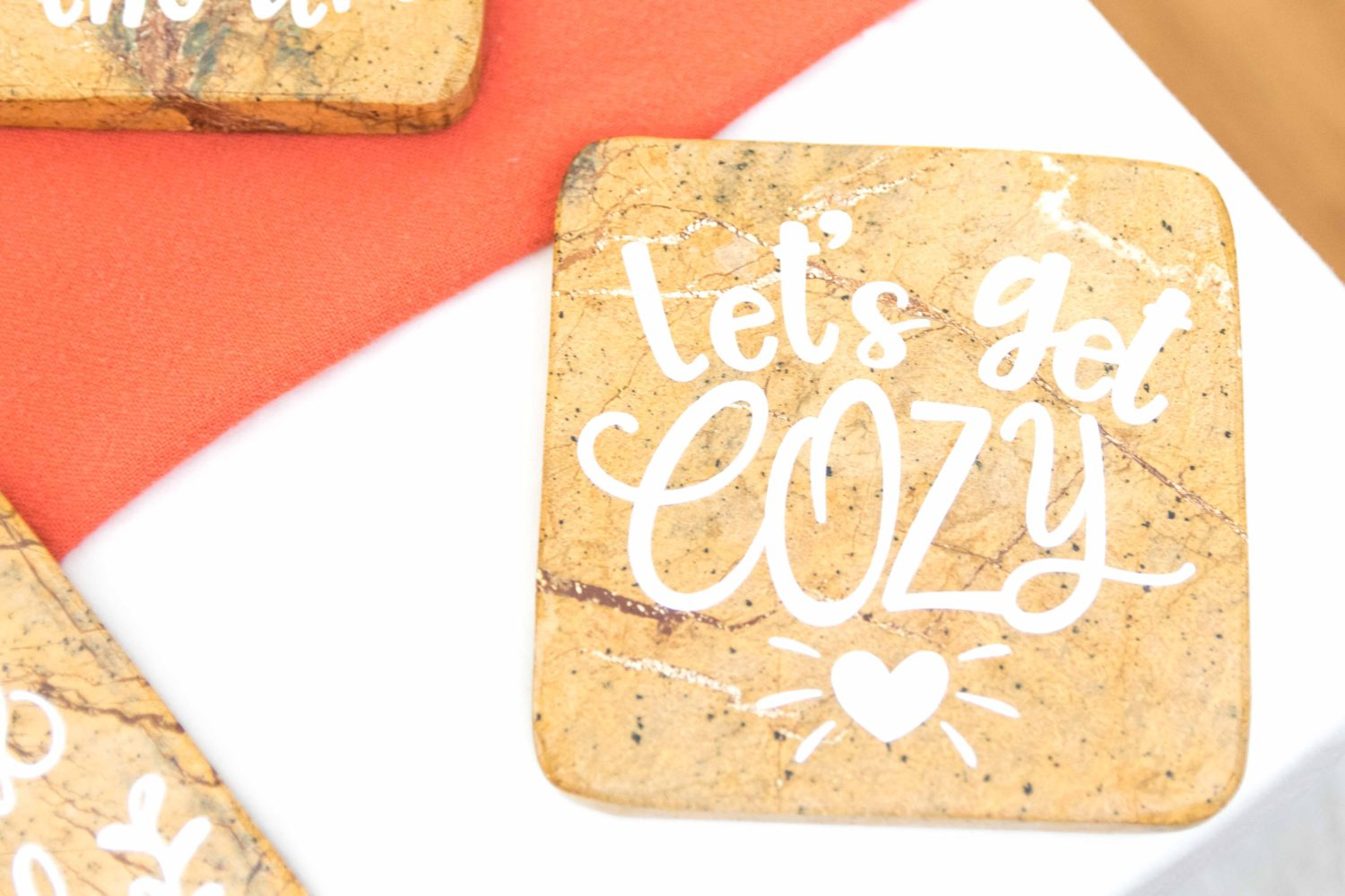 let's get cozy fall coaste made with cricut