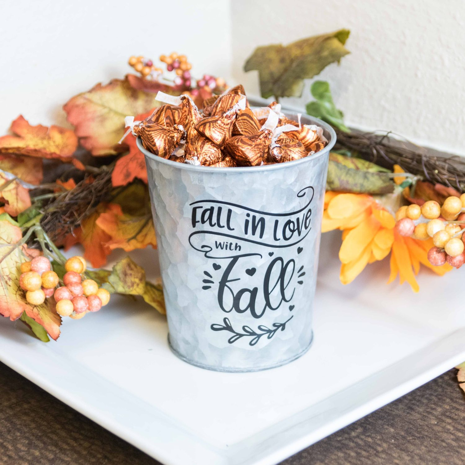 Metal Bucket decorated with black vinyl for the fall season full view