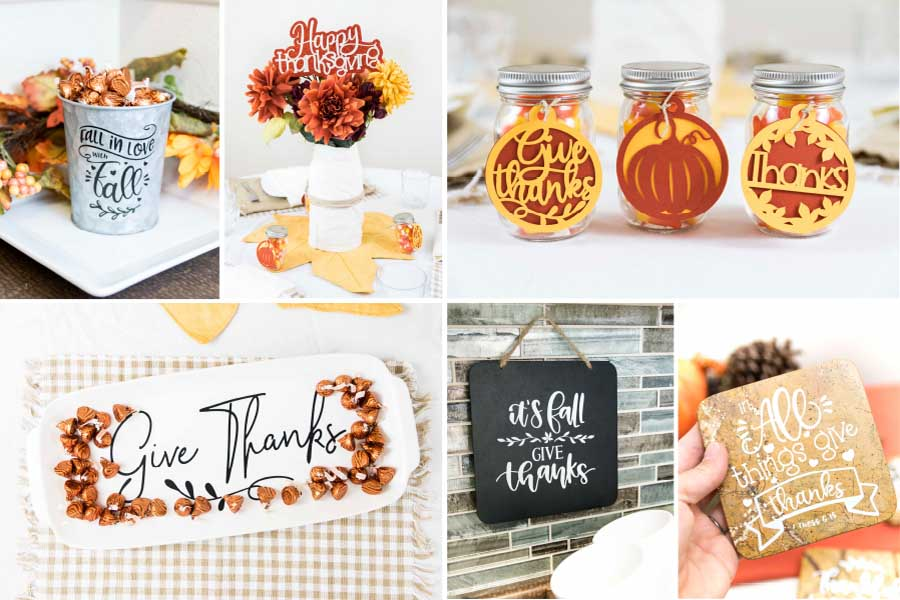 Collage of fall projects made with the Cricut Machine