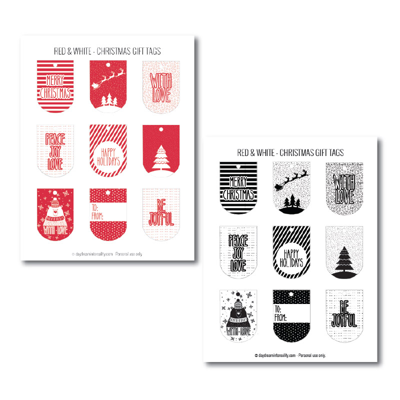 Free assorted Christmas gift tags in red and black and white