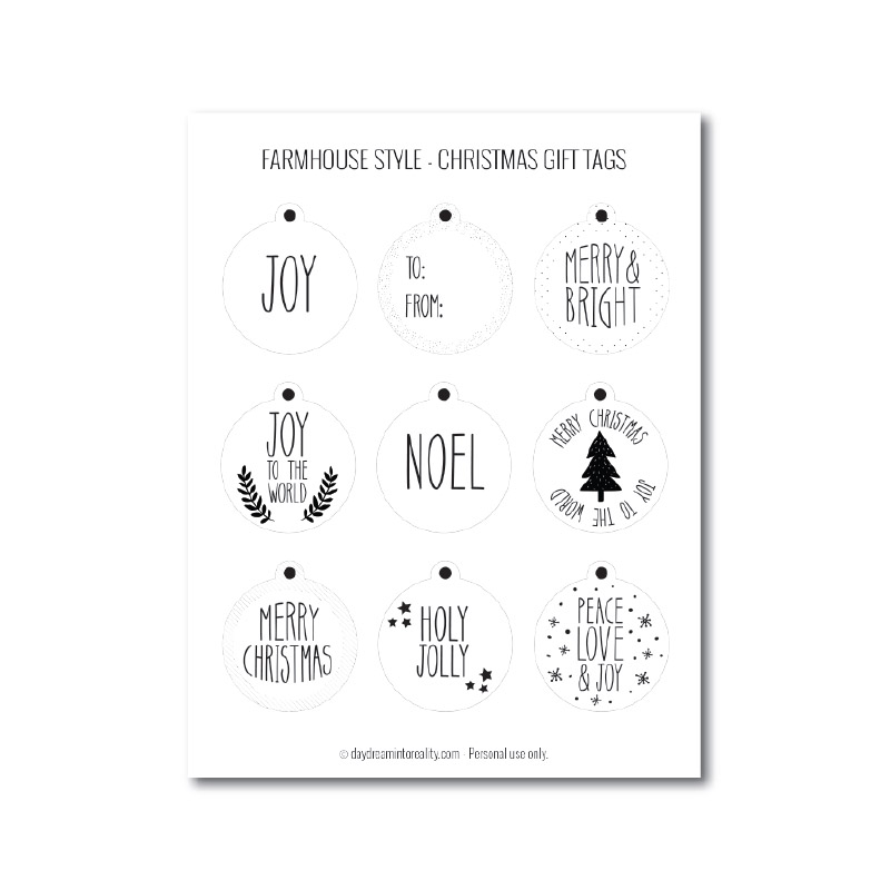 Free Farmhouse Style Christmas gift tags