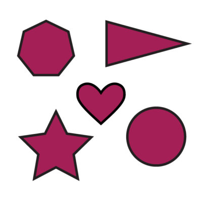 Shapes (circle, hearts, star hexagon) Free SVG Template for photo booth props