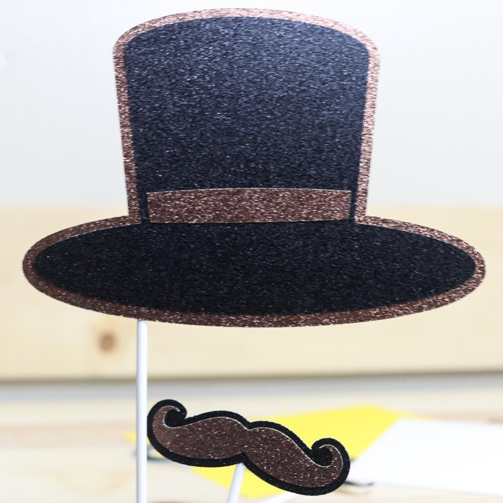 hat and mustache photo pop made with cricut maker