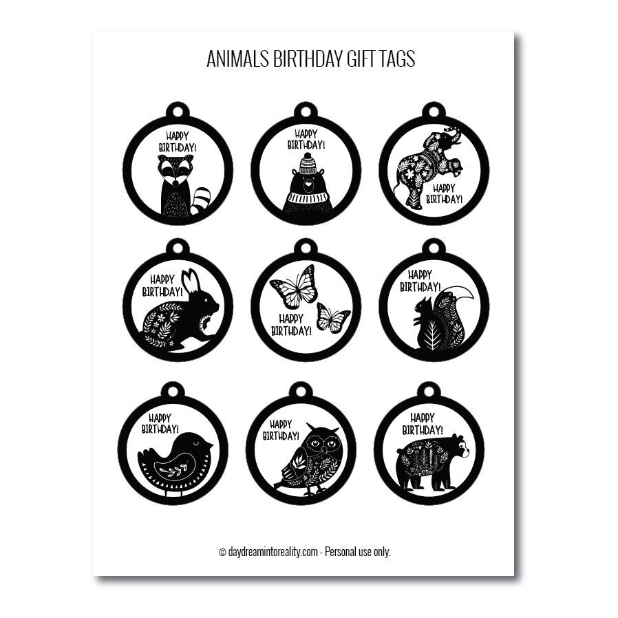Animals birthday gift tags free printables  black and white