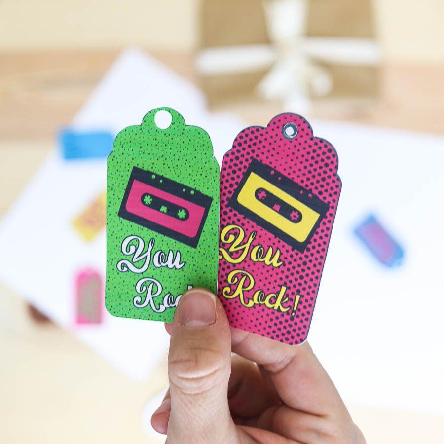 """""""You rock"""" birthday gift tags free printable"""