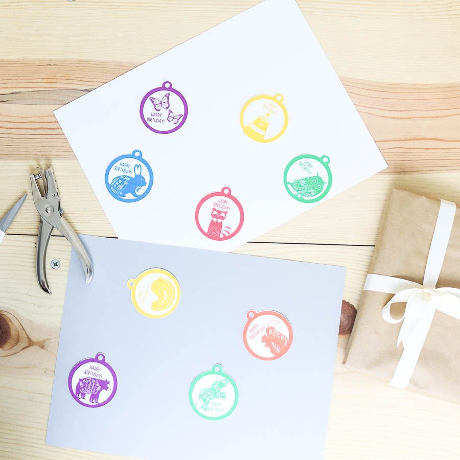 Assorted animals birthday gift tags free printable