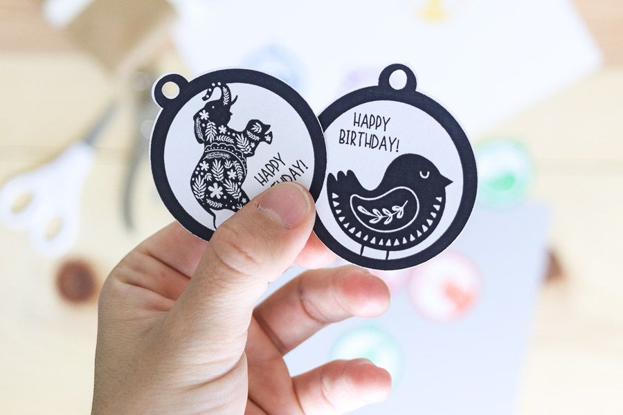 "Black and white ""elephant"" and ""bird"" birthday gift tags free printable"