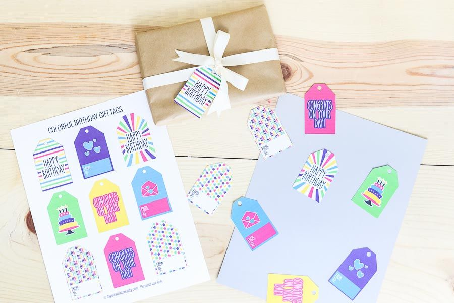Assorted colorful and bright gift tags
