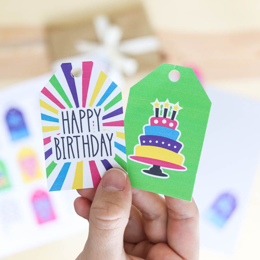Birthday gift tags that are colorfull