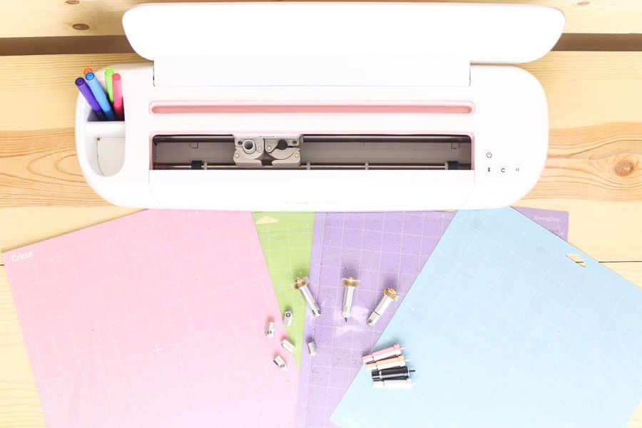 Cricut Make tops view with blades and mats