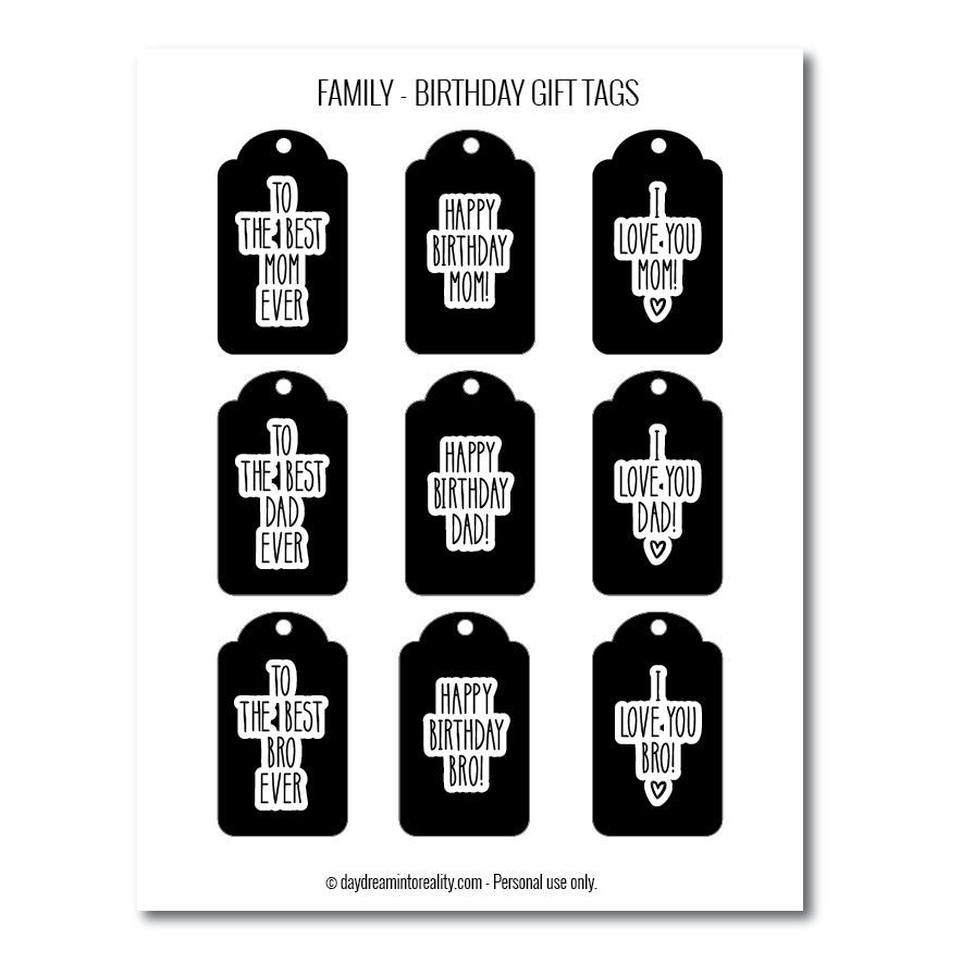Family birthday gift tags free printables  black and white version 1