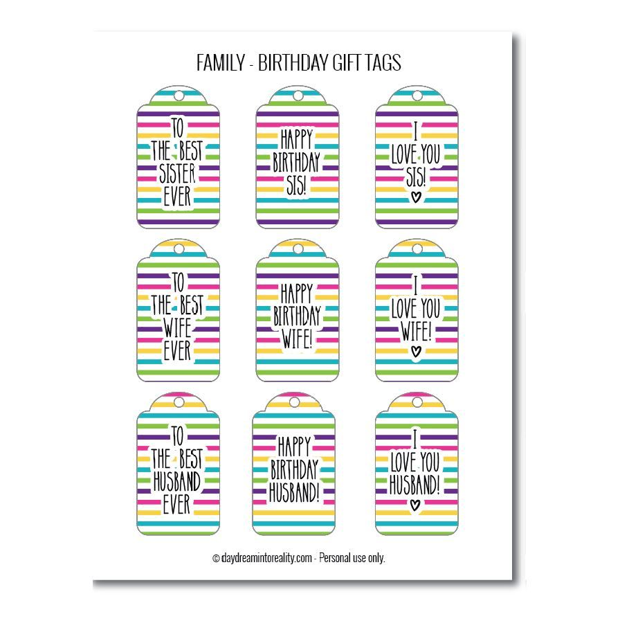 Family birthday gift tags free printables stripes