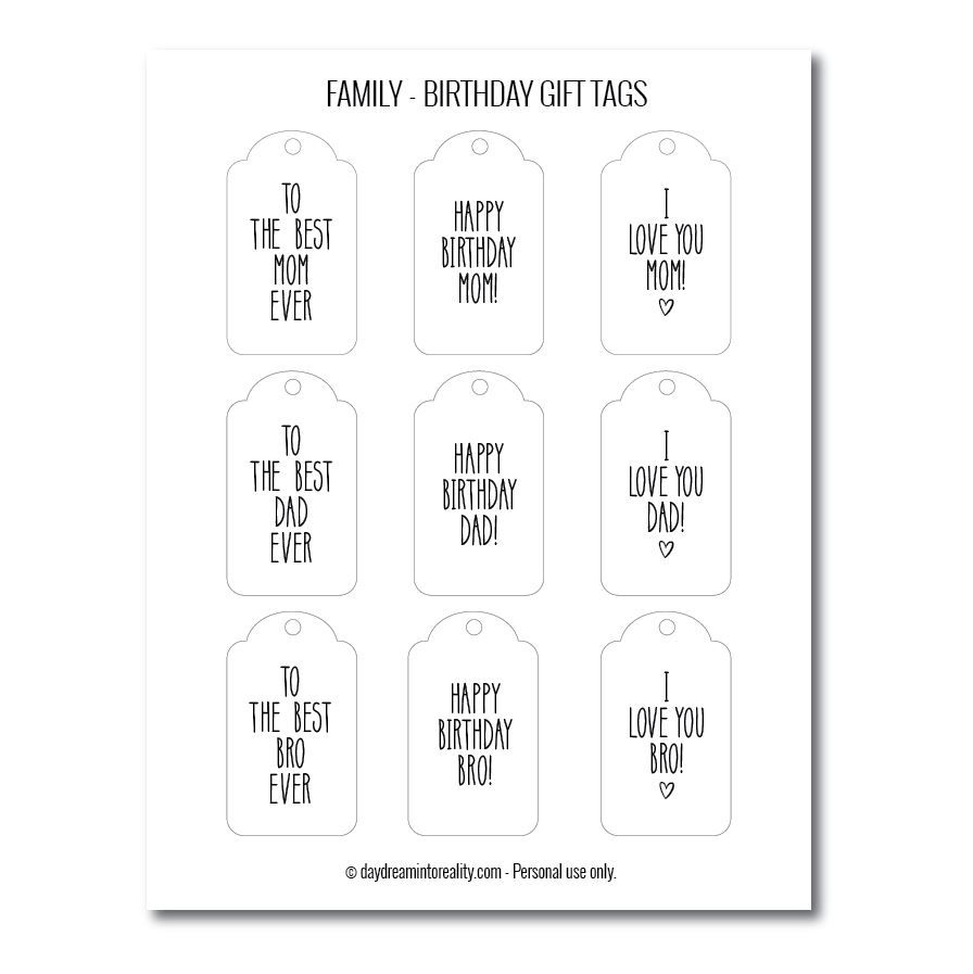 Family birthday gift tags free printables version 2