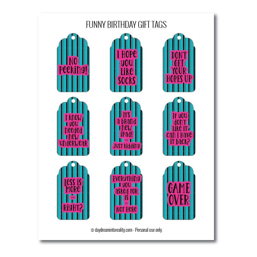 Funny birthday gift tags free printables teal and pink