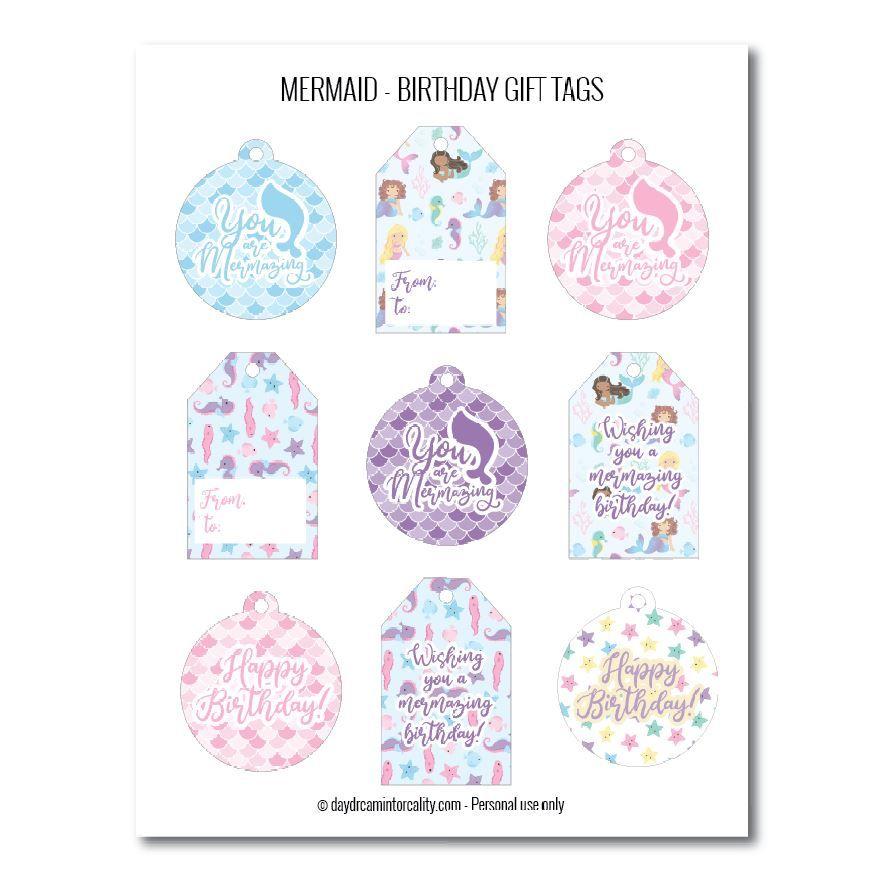 Mermaid birthday gift tags free printables