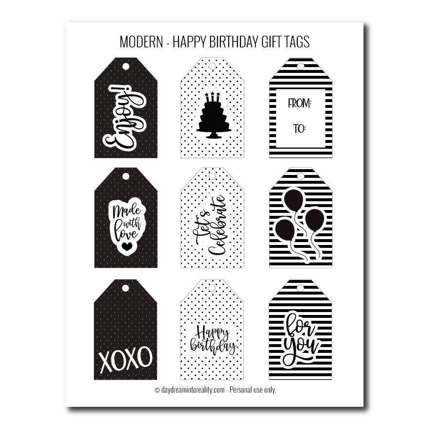 Modern birthday gift tags free printables