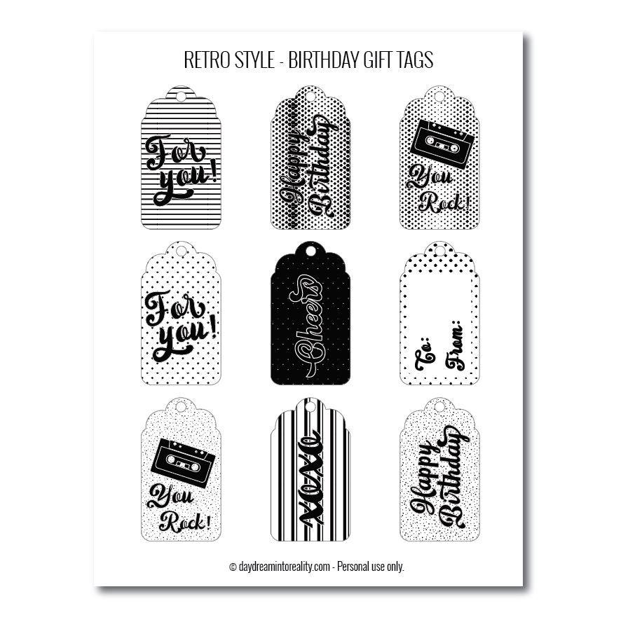 Retro-style birthday gift tags free printables black and white