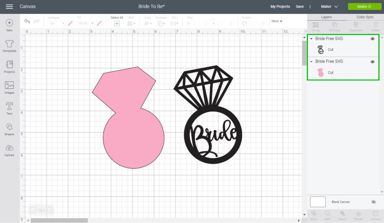 design of a wedding ring in Cricut Design Space