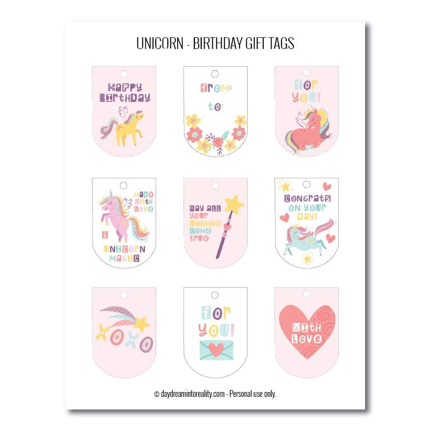 Unicorn birthday gift tags free printables