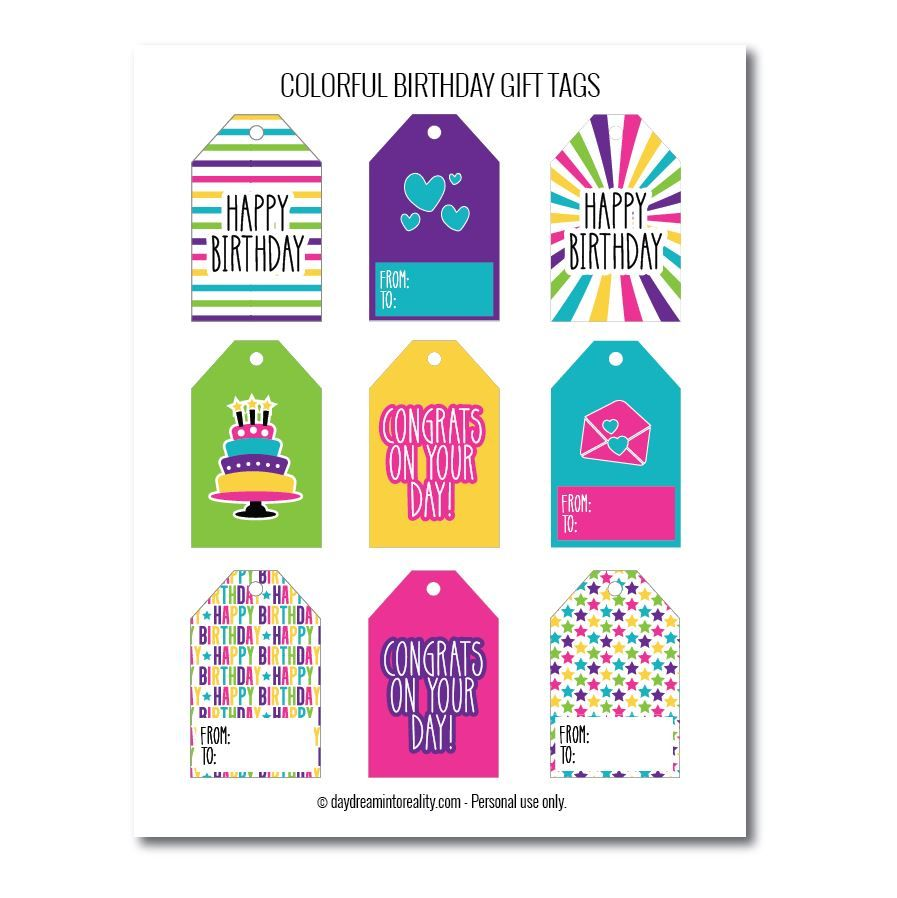 Bright birthday gift tags free printables