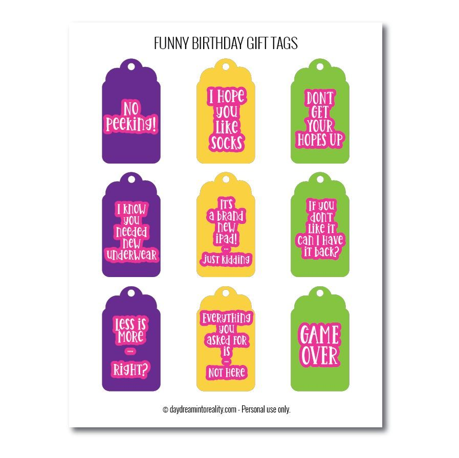 Funny birthday gift tags free printables different colors