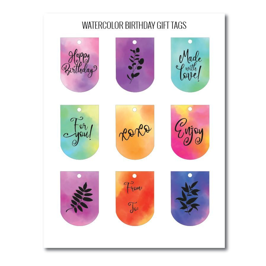 Watercolor birthday gift tags free printables